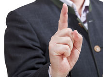 Businessman pointing by forefinger - hand gesture Stock Photography