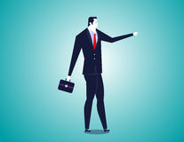 Businessman pointing forward. Concept business illustration. Vector flat Royalty Free Stock Image