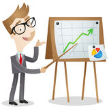 Businessman pointing at graph on a board. Vector illustration of a businessman pointing at stats and a growing graph with a stick on a billboard next to him Stock Images