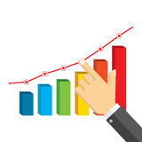 Businessman pointing at growth graph. Stock Images
