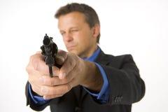 Businessman Pointing Gun Stock Images