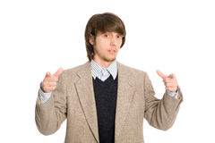 Businessman pointing hands on you Stock Photos