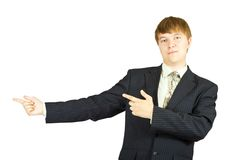 Businessman  pointing her finger Royalty Free Stock Photo