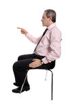 Businessman pointing his finger Stock Image