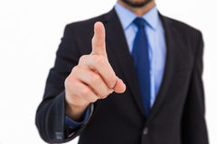 Businessman pointing his finger at camera Royalty Free Stock Images