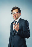 Businessman pointing finger. Businessman pointing his finger gestures an idea Stock Photography