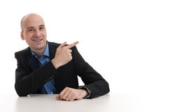 Businessman pointing his finger Stock Photos