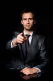 Businessman pointing his finger at you Royalty Free Stock Images