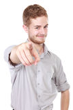Businessman pointing his finger at you Stock Images