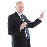 Businessman pointing with his index finger Stock Photo
