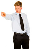 Businessman pointing his index Stock Images