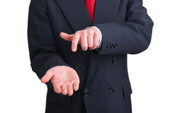Businessman pointing his own hand Stock Photography