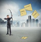Businessman pointing and hits Stock Photography