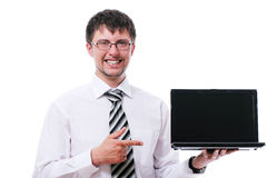 Businessman pointing on the  laptop display Stock Photography