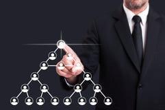 Businessman pointing modern social button on virtual touchscreen Stock Photos
