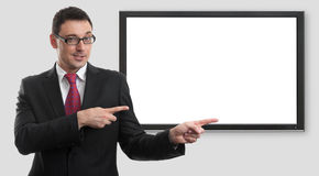 Businessman pointing on monitor Stock Photography