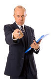 Businessman pointing with pen. Isolated on white Royalty Free Stock Images