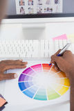 Businessman pointing with a pen on colour wheel Royalty Free Stock Photo