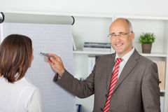 Businessman pointing pen on flipchart Stock Photography