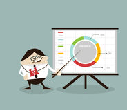 Businessman pointing presentation at board. Business planning concept. illustration vector cartoon Stock Image