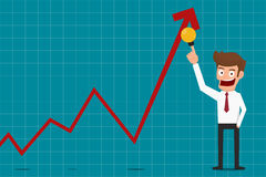 Businessman pointing raises growth graph with idea. Business concept financial success. Stock Photography