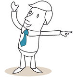 Businessman pointing and showing the way. Vector illustration of a monochrome cartoon character: Businessman pointing and showing the way vector illustration