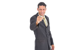 Businessman pointing something Royalty Free Stock Images
