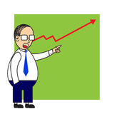 Businessman Pointing A Stock To Up. Vector Illustration Royalty Free Stock Photo