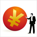 Businessman pointing at the symbol of Yuan. Businessman pointing at symbol of Yuan vector illustration