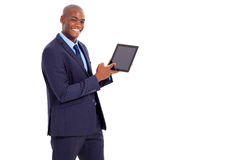 Businessman pointing tablet Royalty Free Stock Photos