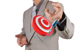 Businessman pointing target symbol as success concept Stock Images