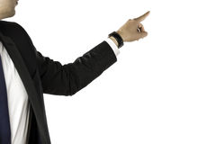 Businessman pointing to the back Stock Image