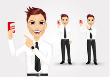Businessman pointing to business card. Illustration of young businessman pointing to business card Stock Photo