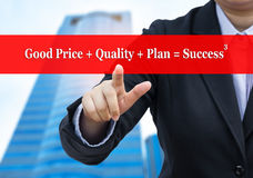 Businessman pointing to Business success concept. Royalty Free Stock Image