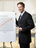 Businessman pointing to chart Royalty Free Stock Photos
