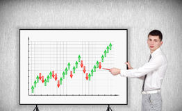 Businessman pointing to chart Royalty Free Stock Images