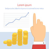 Businessman pointing to chart. Businessman showing growth of money with the help of graphics and stack of coins. Vector business concept illustration in flat Royalty Free Stock Photos