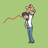 Businessman pointing to the graph Stock Photo