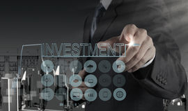 Businessman  pointing to investment concept Royalty Free Stock Photography