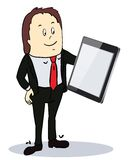 Businessman pointing to the screen of a tablet-pc Royalty Free Stock Images