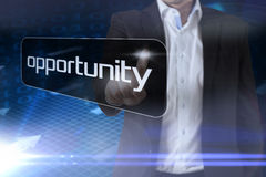 Businessman pointing to word opportunity Stock Images