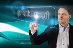 Businessman pointing to word protocol Stock Photography