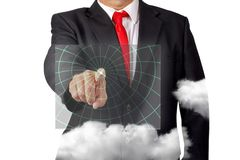 Businessman Pointing At A Computer Screen Hologram royalty free stock image