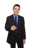 BUSINESSMAN POINTING TOWARDS THE CAMERA Stock Photo