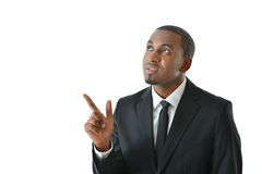 Businessman Pointing Up. Business man looking up and pointing Royalty Free Stock Photos