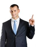 Businessman pointing up hand gesture Royalty Free Stock Photos