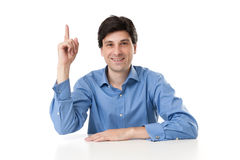 Businessman pointing up his finger Royalty Free Stock Photo