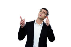 Businessman pointing up with his finger Royalty Free Stock Image
