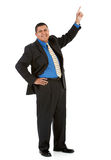 Businessman:  Pointing Up to Something. Series of a Hispanic businessman in suit, isolated on white, with props, in various poses Stock Photography