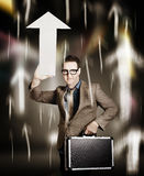 Businessman pointing up with white arrow symbol Stock Photo